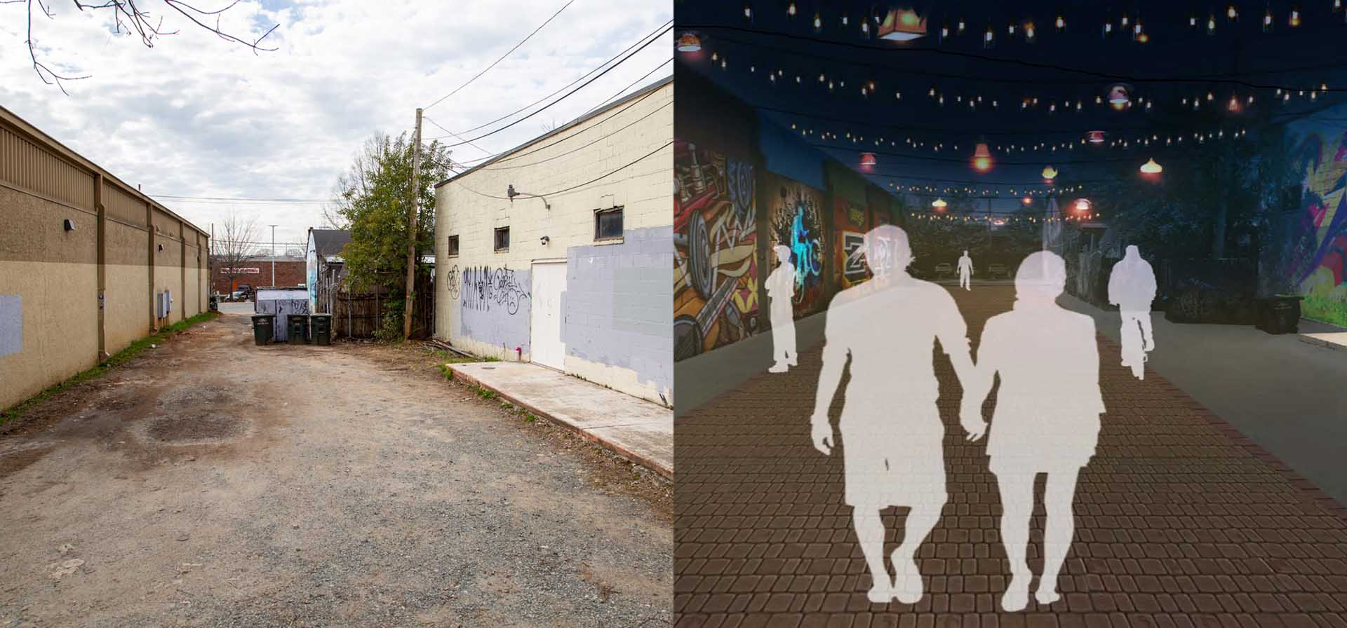 A side-by-side image of the Gordon Street Alley as it is now, with a model of how it could look after being remodeled.