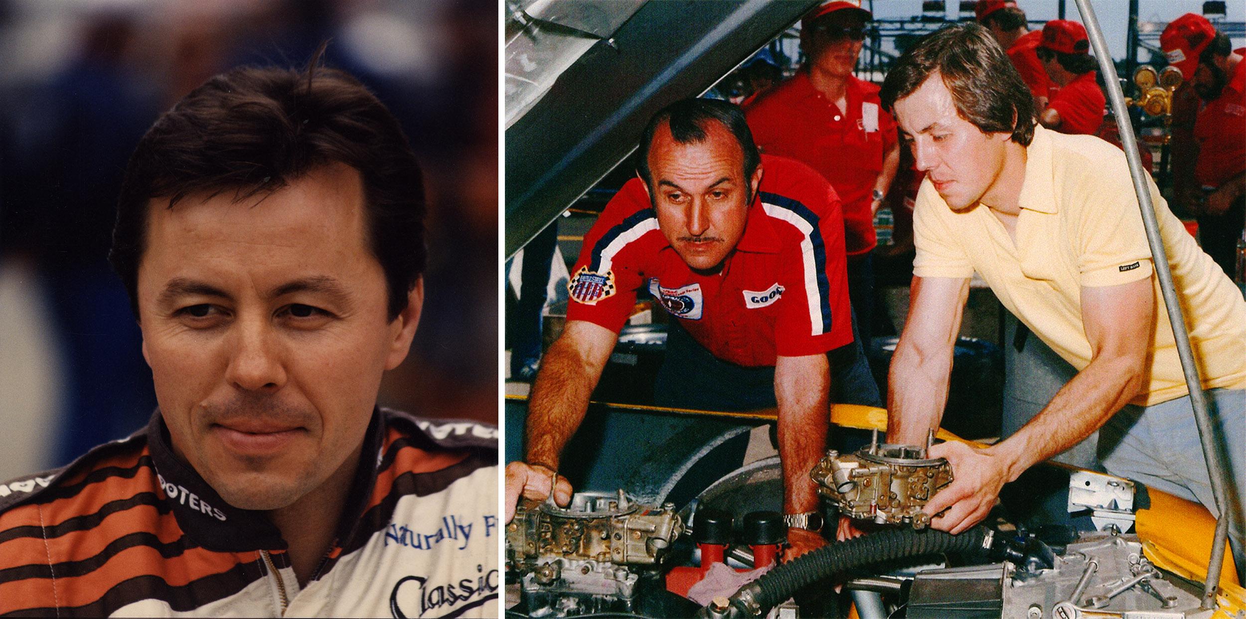 Alan Kulwicki (left); Alan and Gerald Kulwicki look over the engine in one of Alan's cars.