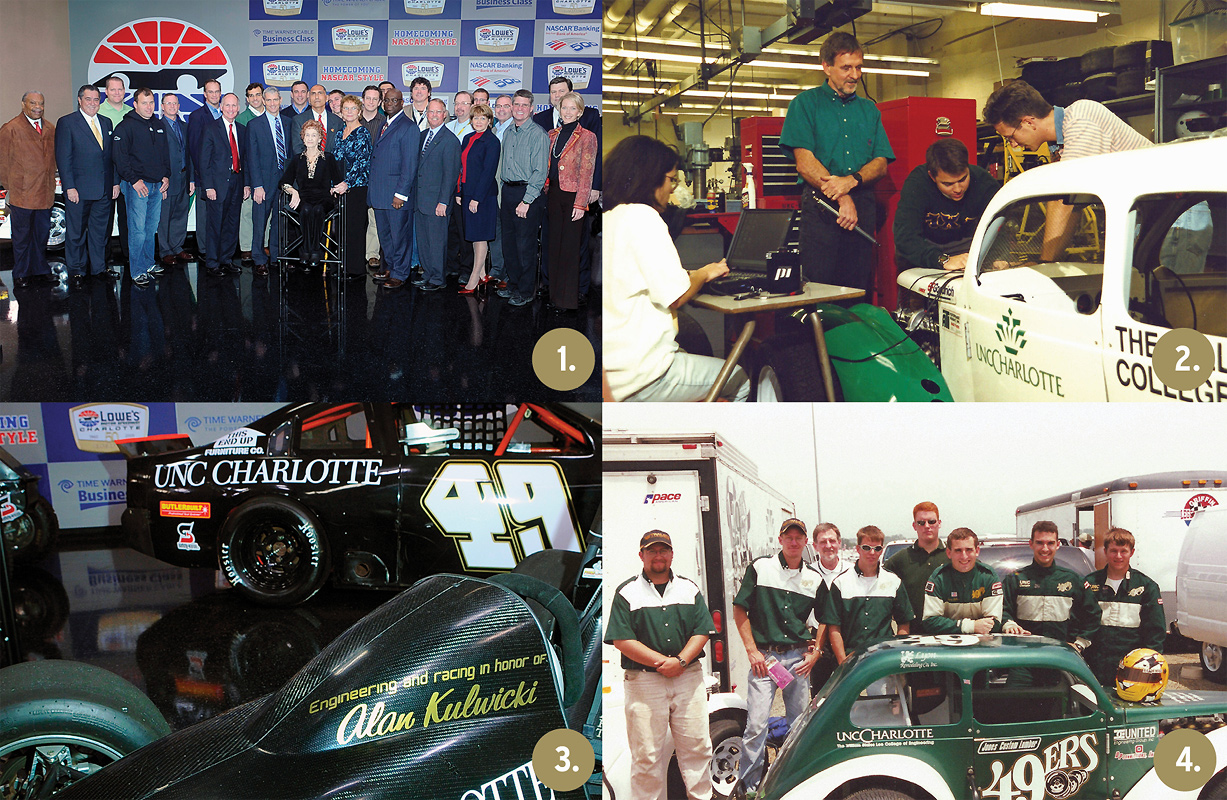 1. Alan D. Kulwicki Motorsports Laboratory dedication in 2009; 2. Dr. Jerre Hill and students in the Smith Building motorsports lab; 3. UNC Charlotte race cars; 4. The 49er ICARA team that won five straight national championships