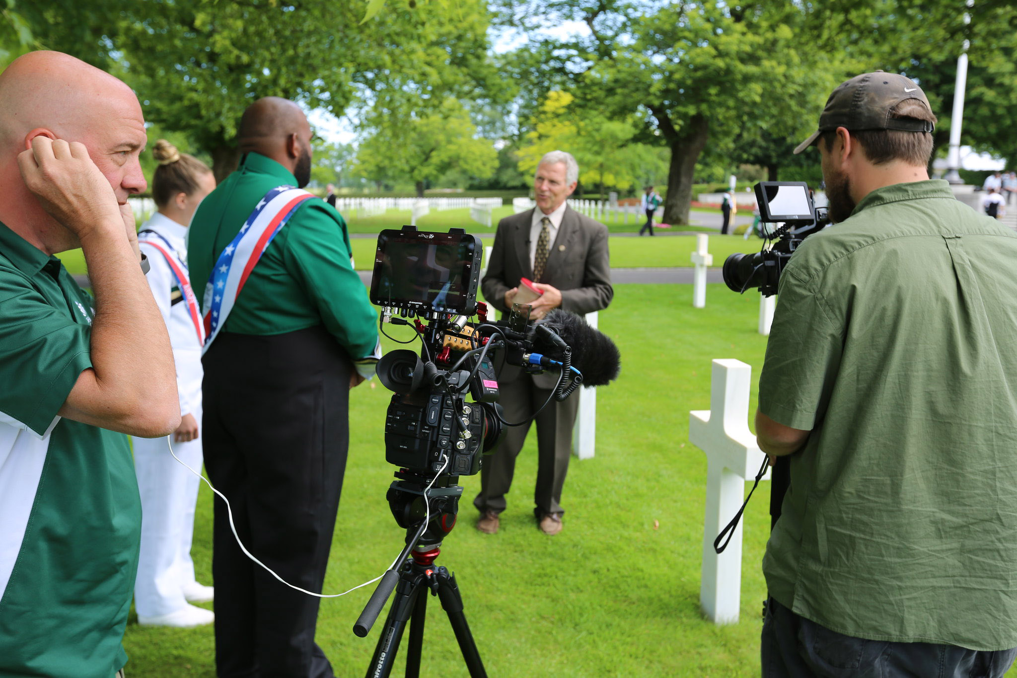 Recording at the Brittany American Cemetery