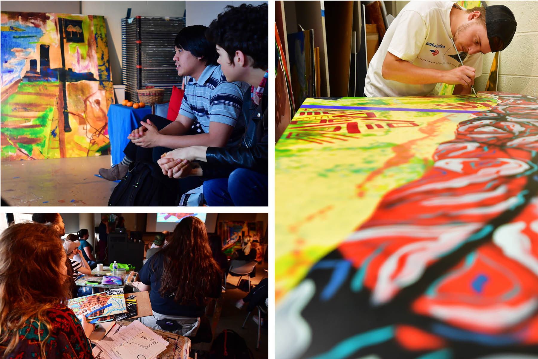 photo collage of COAA students working on murals in the studio