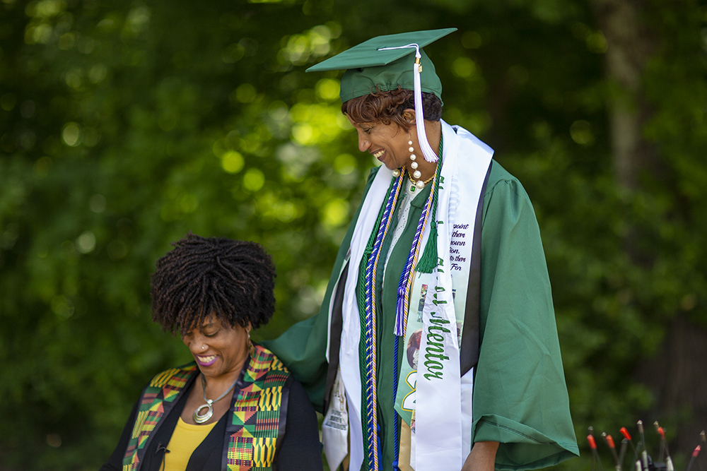 Randolph and Dr. Julia Jordan-Zachery, one of her most ardent faculty supporters, share a moment following the commencement ceremony.